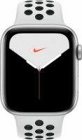Apple Watch Nike Series 5 (GPS + Cellular) 44mm Aluminium silber mit Sportarmband Pure Platinum/schwarz (MX3E2FD)