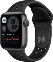 Apple Watch Nike Series 6 (GPS) 40mm Aluminium space grau mit Sportarmband anthrazit/schwarz (M00X3FD)