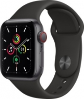 Apple Watch SE (GPS + Cellular) 40mm space grau mit Sportarmband schwarz (MYEK2FD)