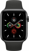 Apple Watch Series 5 (GPS + Cellular) 44mm Aluminium space grau mit Sportarmband schwarz (MWWE2FD)