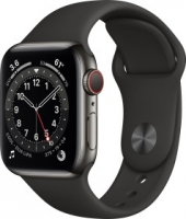 Apple Watch Series 6 (GPS + Cellular) 40mm Edelstahl graphit mit Milanaise-Armband graphit (M06Y3FD)